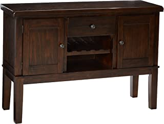 Ashley Furniture Signature Design - Haddigan Dining Room Server - Wine Rack - Brone-tone Hardware - Dark Brown Finish