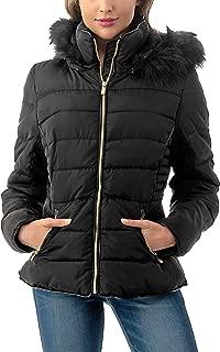 Women's Short Puffer Coat with Removable Faux Fur Trim Hood Jacket