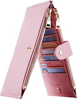 Travelambo Womens Walllet RFID Blocking Bifold Multi Card Case Wallet with Zipper Pocket