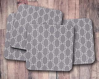 Posavasos grises con patrón de cuadrados geométricos, posavasos individuales o juego de 4