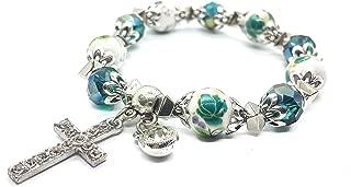 Nazareth Store Religious Cross Bracelet Christian Classic Beaded Bangle with Green Crystal Beads Sacred Gift for Teen Girls Jewelry for Women & Men