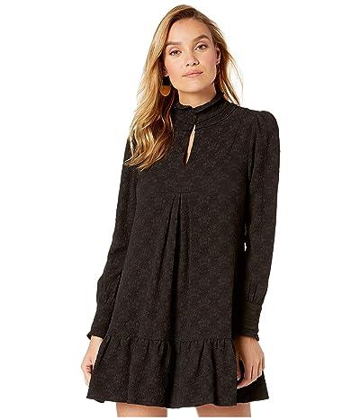 Nanette Lepore Textured Solid Pintuck Dress (Black) Women