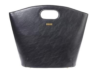 San Diego Hat Company Pebbled PU Leather Tote w/ Cutout Handle Magnetic Closure (Black) Handbags
