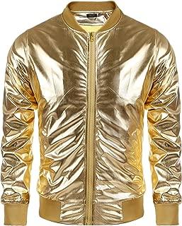 Men's Metallic Nightclub Jacket Slim Fit Zip Up Varsity Baseball Bomber Shiny Party Dance Disco Jackets