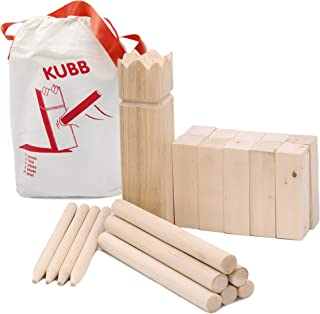 Aftergen Kubb Viking Chess Lawn Game All Wood Back Yard Games Deluxe Kubb Game Premium Set Beach Games Regulation Size