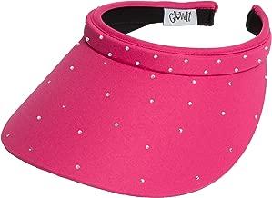 Women's Clip On Visor Glove It Golf & Tennis Head Visors for Women UV 50 Protection Ladies Sun Visor Hat Large Wide Brim Pink Bling