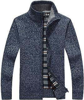 chouyatou Men's Winter Sportswear Fleece Lined Zip-Front Cable Knit Cardigan Sweater