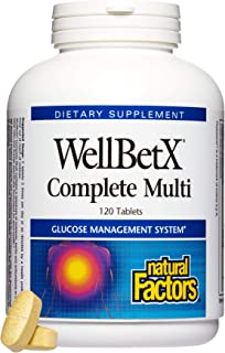 WellBetX by Natural Factors, Complete Multi, Supports Healthy Blood Sugar Levels Already in a Normal Range, 120 capsules (...
