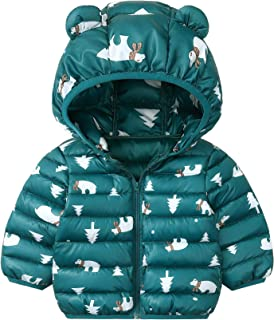 Xifamniy Infant Unisex Babies Cotton-Padded Jacket Cartoon Animals Shape Hooded Coat Green