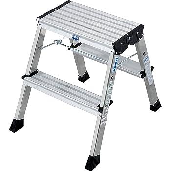 Krause 130037 - Escabel plegable (aluminio, 2 peldaños a cada lado, fijación de seguridad automática): Amazon.es: Bricolaje y herramientas