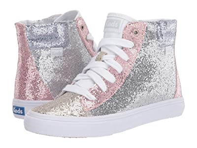 Keds Kids Double Up High Top (Little Kid/Big Kid) (Color Block Sparkle) Girl