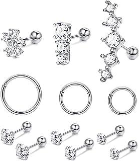 JOERICA 12 PCS Stainless Steel Ear Cartilage Hoops Earrings for Women Tragus Helix CZ Barbell Stud Earrings Cute Flat Back...