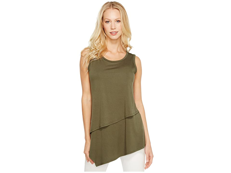 Karen Kane Asymmetric Layer Top (Olive) Women