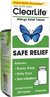 MediNatura ClearLife Allergy Relief - Safe, Homeopathic Combination of 16 Natural Ingredients for Watery Eyes, Sneezing, Skin Irritations & Congestion - Non-Drowsy, Non-Jittery - 100 Tablets