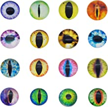 50PCS/Pack Diameter 1 inch Assorted Round Glass Animal Eye Flatback Cabochons for Polymer Clay Doll Craft Making 25mm Cat Eye Evil Eye Bag