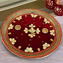 TIED RIBBONS Decorative Pooja Thali for Home Diwali Puja Thali (13.5 inch)