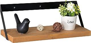 MyGift 16-Inch Industrial Wood & Black Metal Wall-Mounted Shelf