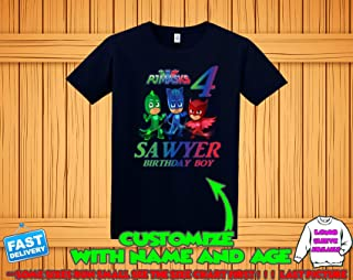 PJ Masks Birthday Shirt, PJ Masks Custom Shirt, Personalized PJ Masks Shirt, Pj Masks family shirts, PJ Masks Birthday t-shirt for girls and boys with name and age