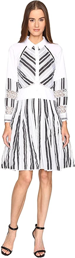 Long Sleeve Stripe Cotton Organdy Dress