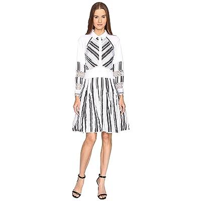 Zac Posen Long Sleeve Stripe Cotton Organdy Dress (White/Black) Women