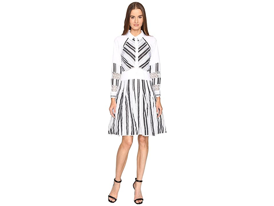 Zac Posen Long Sleeve Stripe Cotton Organdy Dress (White/Black) Women
