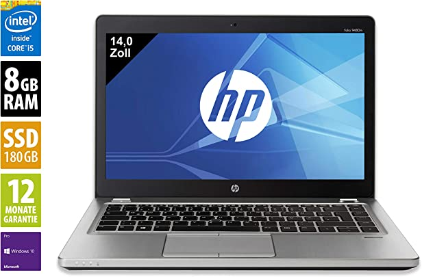 HP EliteBook Folio 9480m Notebook Laptop 14 0 Zoll  1366x768  Intel Core i5-4310U 2 0 GHz 8GB DDR3 RAM 180GB SSD Webcam Windows 10 Pro  Zertifiziert und General berholt