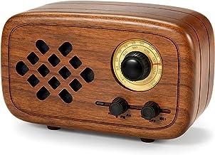 Rerii Retro Bluetooth Speaker, Handmade Walnut Wood Vintage Small Bluetooth Radio FM AM,..