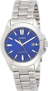 """ساعة للرجال من """"كاسيو""""بمينا لون ازرق، بسوار من الستانلس ستيل - MTP-1215A-2A2DF"""