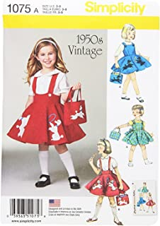 Simplicity 1075 1950's Vintage Bag, Jumper, and Poodle Skirt Sewing Pattern for Girls, Sizes 3-8
