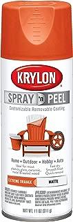 Krylon K09937000 Spray 'n Peel Paint, Matte Extreme Orange, 11 Ounce