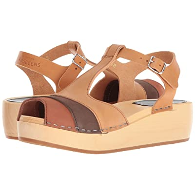 Swedish Hasbeens 90s T-Strap Wedge (Brown Nubuck Color Combo) Women
