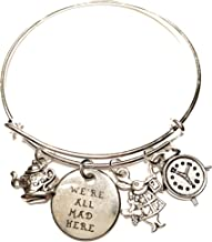 Ivy & Clover Alice in Wonderland Inspired We are All Mad Here Charm Bangle Bracelet
