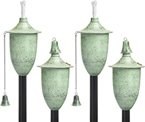 Legends Direct Set of 4, Premium Metal Outdoor Torches for Patio, Lawn and Garden - Tiki Style Metal Torch/w Snuffer, Fiberglass Wick & Large 20oz Oil Lamp - 54