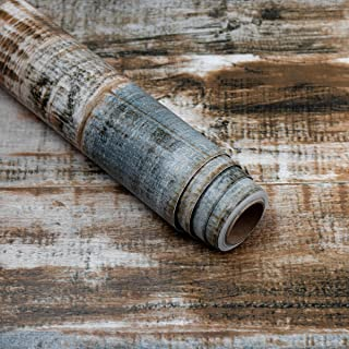 Livelynine Wood Wallpaper Peel and Stick Wood Planks Distressed Wood Wall Paper Self Adhesive Shelf Liner Removable Shiplap Bulletin Board Paper 17.7x78.8 Inch