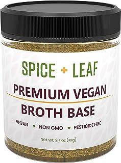 Premium Vegan Broth Base by Spice + Leaf - Vegan, Dairy Free, Salt Free, Non GMO, Preservative Free Soup Powder and Seasoning