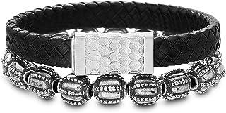Steve Madden Stainless Steel Black Leather Textured Stretch Beaded Stackable Bracelet for Men
