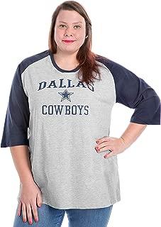 Dallas Cowboys Plus Size 3/4 Contrast Raglan Scoop Tee