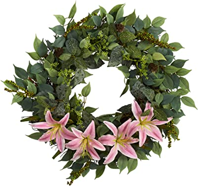 23in. Mixed Ruscus, Lily, Fittonia and Berries Artificial Wreath