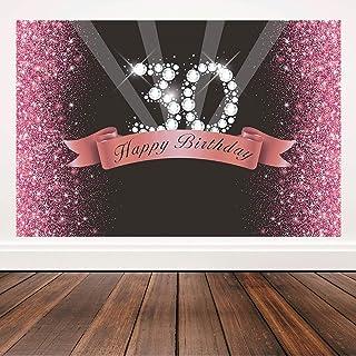 Hintergrund zum 30. Geburtstag, Glitzer, Roségold und Schwarz, Party Banner zum 30. Geburtstag, 1,8 x 1,2 m