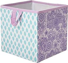 Bacati Isabella Girls Paisley Fabric Storage Box/Tote, Lilac/Purple/Aqua
