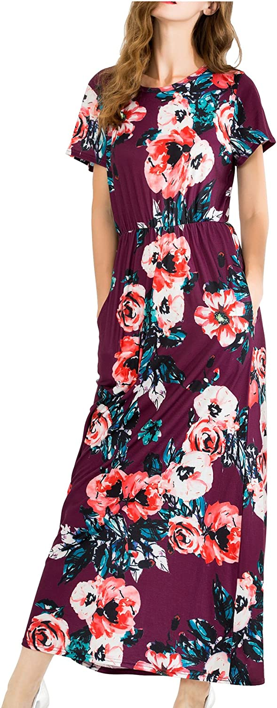 MALOTINA Women Short Sleeve Floral Print Scoop Neck Elastic Waist Pocket Casual Midi Vintage Dress