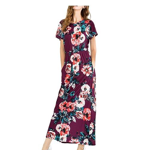 16de0a037d6c MALOTINA Women Short Sleeve Floral Print Scoop Neck Elastic Waist Pocket  Casual Midi Vintage Dress