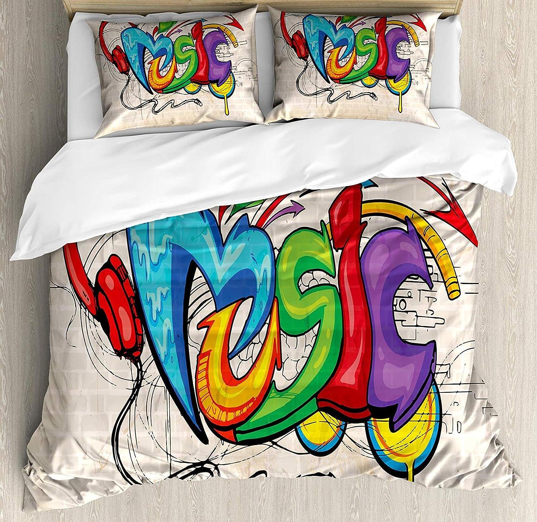 Music Full Size 4pc Bedding Set, Illustration Graffiti Style Lettering Headphones Hip Hop Theme on Beige Bricks Floral Lightweight Microfiber Duvet Cover Set, Multicolor