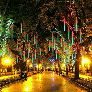 Meteor Shower Rain String Lights with USB plug, 8 Tubes 224 LED Falling Rain icicle String Lights, Waterproof Lights for Christmas Party Xmas Tree Decoration[without usb power adapter](Multicolor)