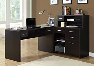 Monarch Specialties Computer Desk L-Shaped - Left or Right Set- Up - Corner Desk with Hutch 60