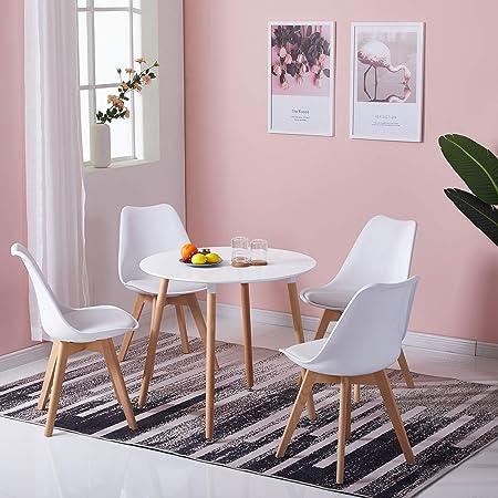 DORAFAIR Table de Salle à Manger Ronde Diamètre 80cm, Design Scandinave Moderne, Blanche