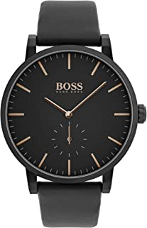 Hugo Boss Black Men's Black Dial Black Leather Watch - 1513768