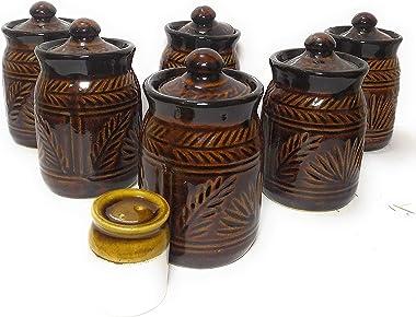 swadeshi enterprises Ceramic Jars 500 ML Set of 6 Plus 1 Salt Dispenser Table Pickle Jars Containers for Storage Ceramic Jars