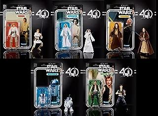 Star Wars The Black Series 40th Anniversary 6 Inch Figure - Luke Skywalker/Han Solo/Ben (OBI-Wan) Kenobi/Princess Leia Organa/Artoo-Detoo (R2-D2) - 5 Pack Set