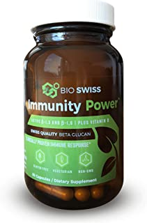 Bio Swiss - Beta Glucan 1,3D & 1,6D + Vitamin D3 - for a Healthy Immune System - Made in Switzerland - Highest Bioavailability - 85%+ Purity - 60 VCaps - 400 mg - Clinically Proven - Globally Awarded